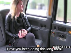 British blonde deep throats huge dick in cab fake anal