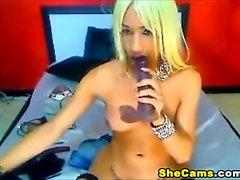 Sexy Tattooed Tranny Masturbates Her 11 Inch Cock