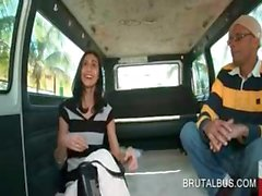 Brunette amateur dared to hot fucking in the bus