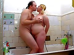 Chunky blonde gets it in the bathroom