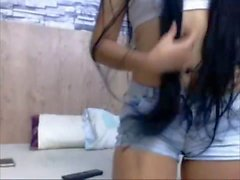 Sexy Long Haired Colombian Hairplay, Striptease, Wet Hair