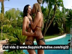 Hot brunette and blonde lesbos kissing and having lesbo sex