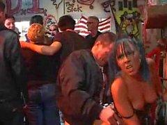 Punk rock slut fucked at a party!