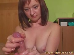 femdom handjob with 2 ruined orgasms