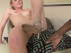 Hung black stud has a hot white blonde sliding on his tool