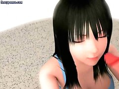 Beautiful animated brunette giving oral