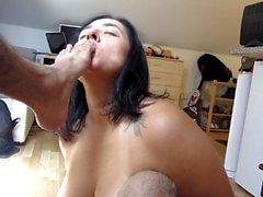 Hd: Kinky white girl worshps brown cock, balls, ass and feet