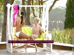 Judit and Isabella lesbo teen girls licking