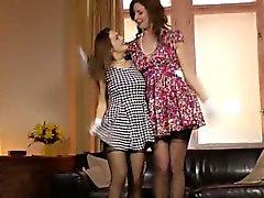 Tall British MILF lez fun with petite teen