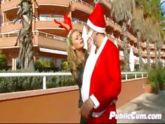 Santa Picks Up Hard Body Babe In Public