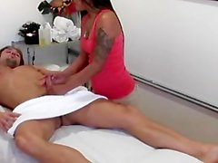 Masseuse is ready for the next part of the erotic massage