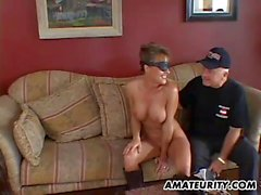 Busty amateur girlfriend anal threesome and facial