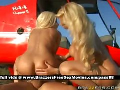 Two blonde chicks outside in a helicopter get their pussy licked