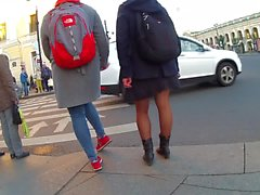 legs in black pantyhose in the street
