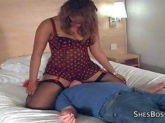 Thick ebony mistress takes a licking from an old guy