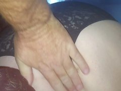 wifes big hairy ass in black girdle, feet