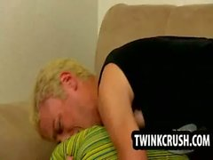 Twink gets his ass paddled before sucking cock