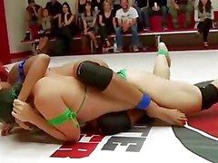 Erotic Lesbian Wrestling Gangbang
