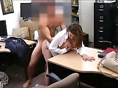 Curvy big boobs business lady gets banged by pawnkeeper