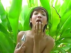 Flat chested ladyboy outdoor solo