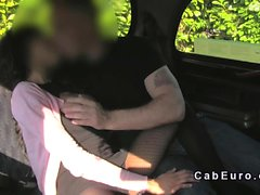 Cab driver bangs babe from behind