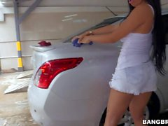 Hot chick Camila from Colombia washing her car