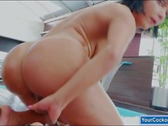 Huge tits TS strokes cock until she cums