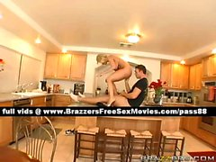 Mature blonde wife on the kitchen table