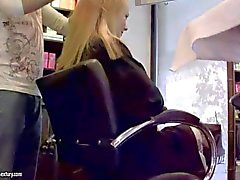 Blondes Blue Angel and Sandy have fun in hairdresser studio