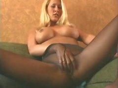 black sheer pantyhose dildo playing