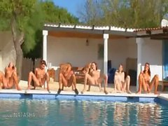 Six naked girls by the pool from france