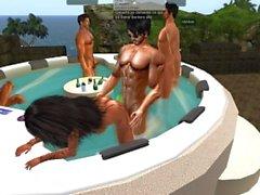 Reunion sex au jacuzzi du Domaine de Fred Adjani