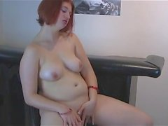 Young chubby redhead playing