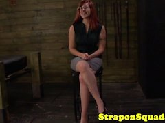 Busty strapon redhead frogtied and fucked