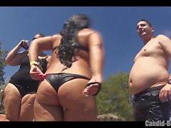 Big Butt Стринги бикини Sexy Latinas пляж вуайерист Закрыть