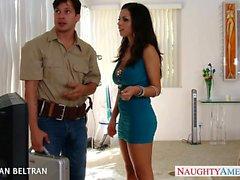 Elegant babe in blue dress Yurizan Beltran take cock