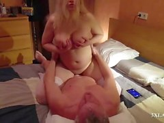 big tit blonde russian milf fucks and sucks