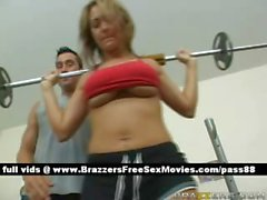 Busty blonde slut at the gym