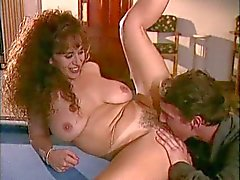 Curly brunette mature teaching billards