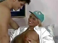 Busty blonde Lisa Lipps eats his cock and then gets banged on the floor