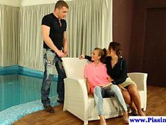 Piss drenched euro babes doggystyled poolside