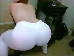 PAWG Bubble Butt white yoga pants