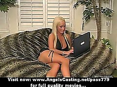 Blonde milf with laptop flashing panties and toying pussy on couch