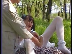 Hairy brunette white pantyhose anal