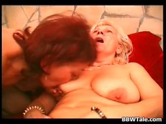 Two mature fat sluts have lesbian sucks