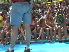 A bunch of beautiful babes sit around in bikinis and are filmed