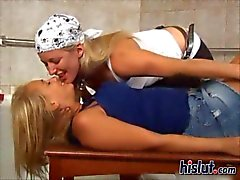 two nasty lesbians love pegging in the tub