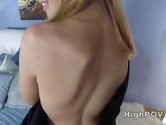 Beautiful European blonde giving blowjob pov