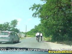 Public european hitchhikers fucking in car
