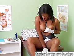 Kinky chubby black babe in doctors office